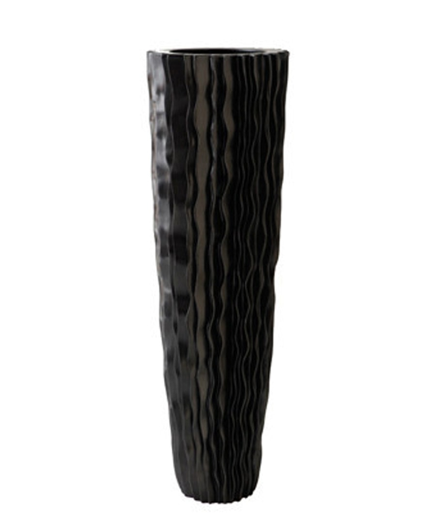 Fiberglass Container Black Vertical Fold Planter