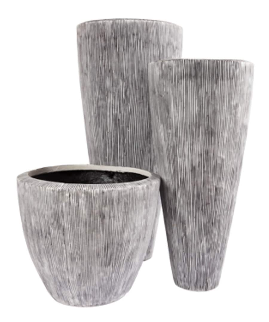 Fiberglass Container Etched Flared Planters