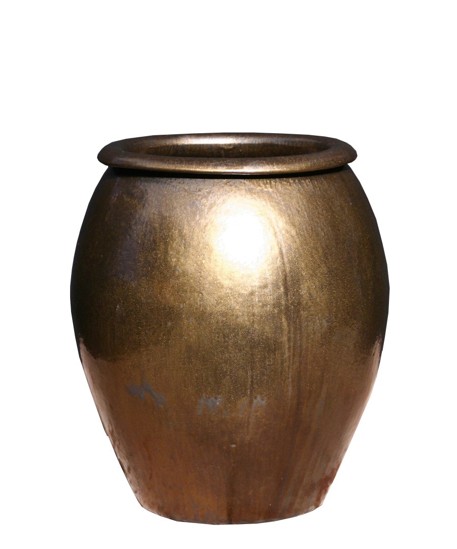 Ceramic Planter Container Metalic Urn
