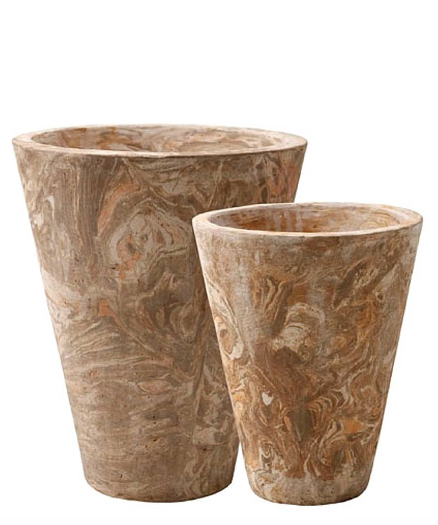 Ceramic Container Planters Marbled Clay Pots