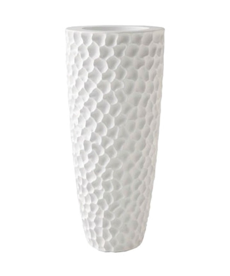 Fiberglass Container White Pebble Planter