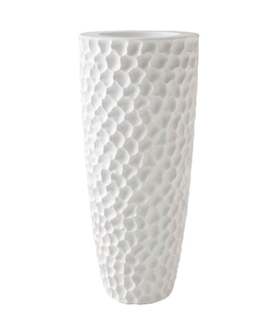 Fiberglass Container White Pebble Planter