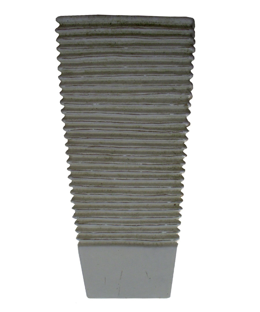 Ceramic Container Planter Ribbed Tapered Square
