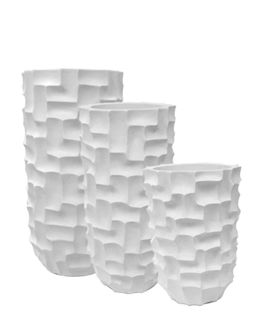 Fiberglass Container White Mosiac Planters